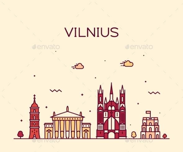 Vilnius Skyline Lithuania Vector Trendy Line Style - Buildings Objects