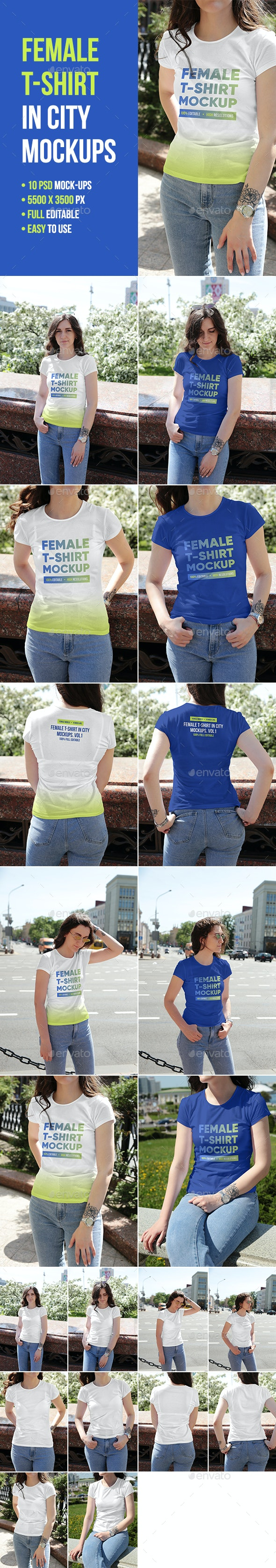 Female T-Shirt in City Mockups Vol1 - T-shirts Apparel