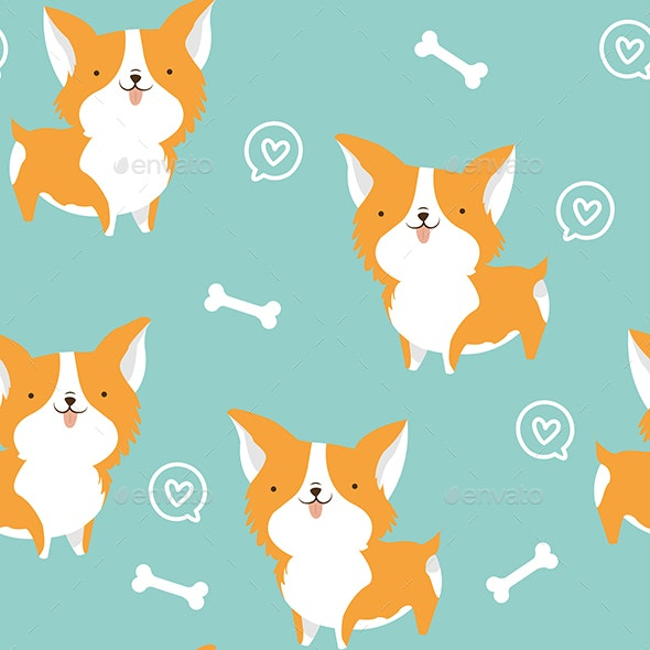 Cute Corgi Dog Seamless Pattern - Patterns Decorative