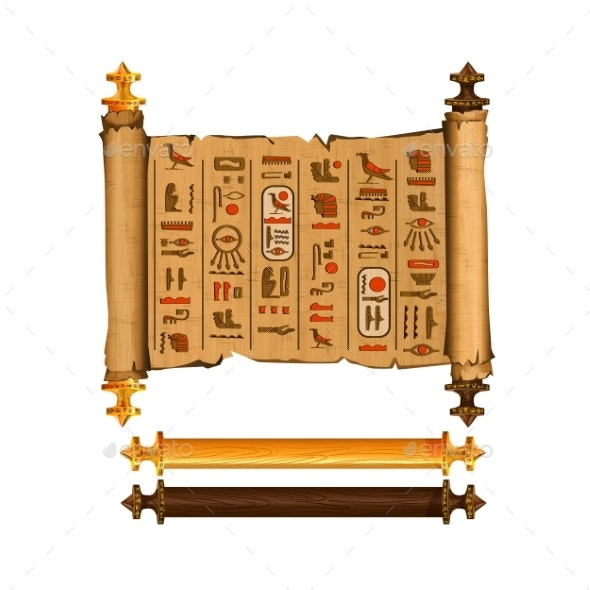 Ancient Egypt Papyrus Scroll Cartoon Vector - Religion Conceptual
