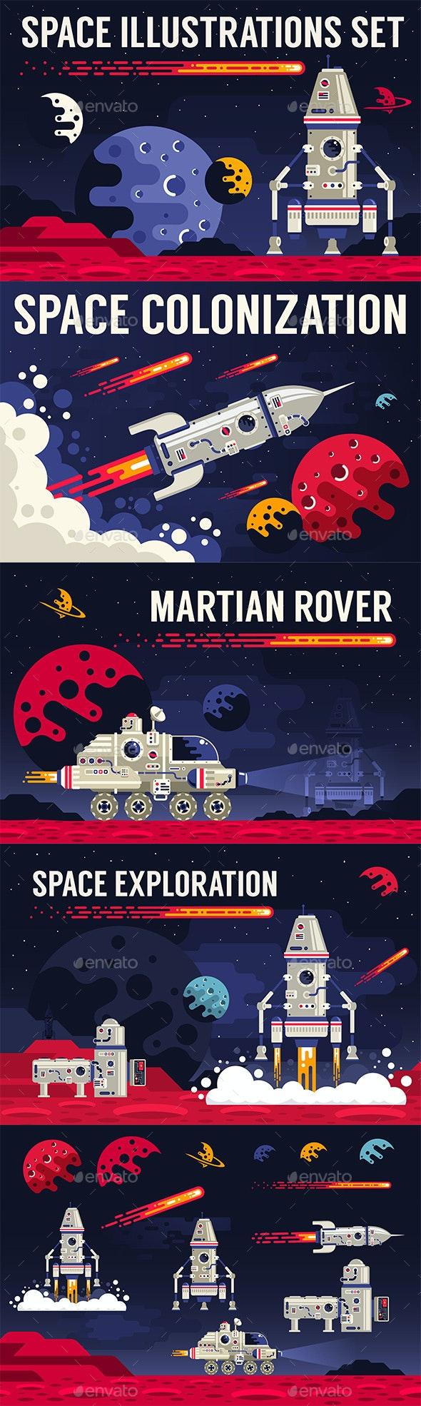 Space Flat Illustration - Miscellaneous Vectors