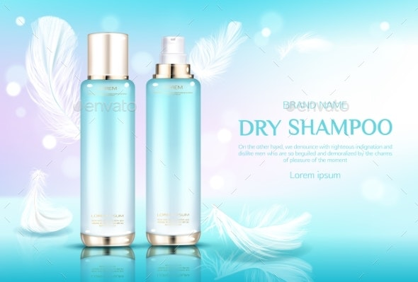 Dry Shampoo Cosmetic Bottles with Sprayer Cap - Health/Medicine Conceptual