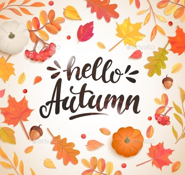 Hello Autumn Banner in Frame of Autumn Leaves - Seasons Nature