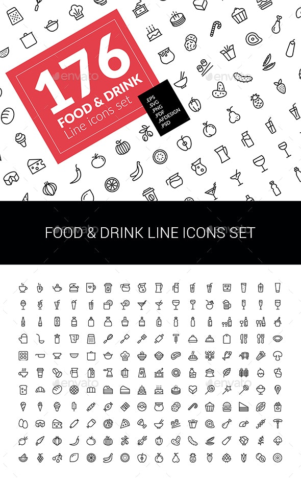 Food & Drink Icons Set - Food Objects