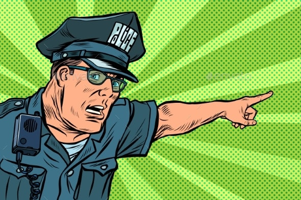 Police Officer Cop Points Directions - People Characters