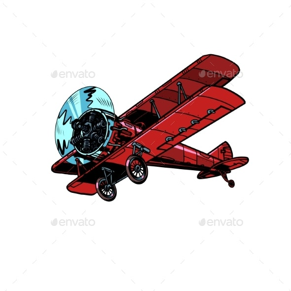 Retro Biplane Aircraft - Man-made Objects Objects