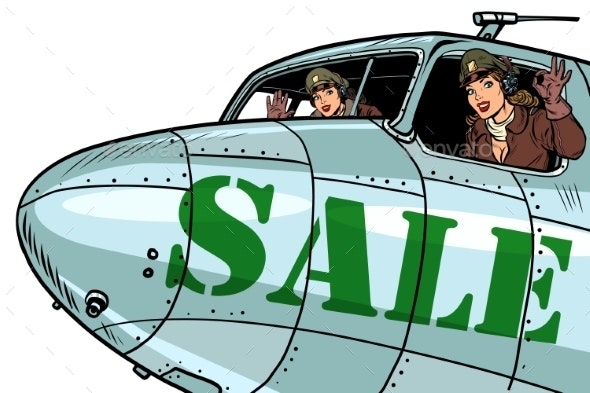 Women Pilots Flying on Sale Bomber - People Characters