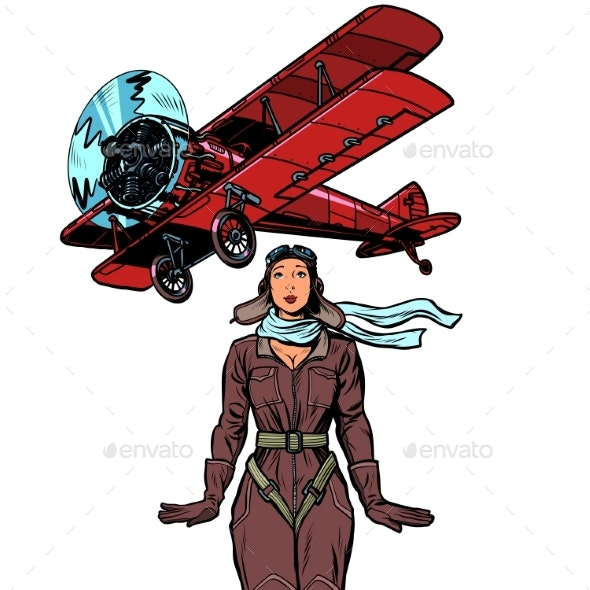 Pilot of a Vintage Biplane Airplane - People Characters