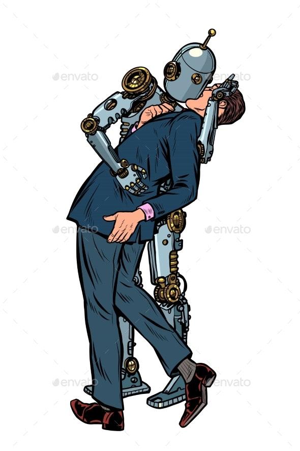 Kiss Love Couple Robot and Man - Miscellaneous Conceptual