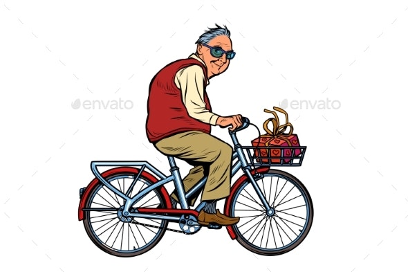 Old Man with a Gift Riding a Bicycle - People Characters