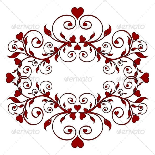floral ornament with hearts - Borders Decorative