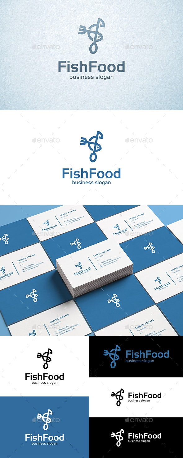 Fish Food Fork and Spoon Logo - Food Logo Templates