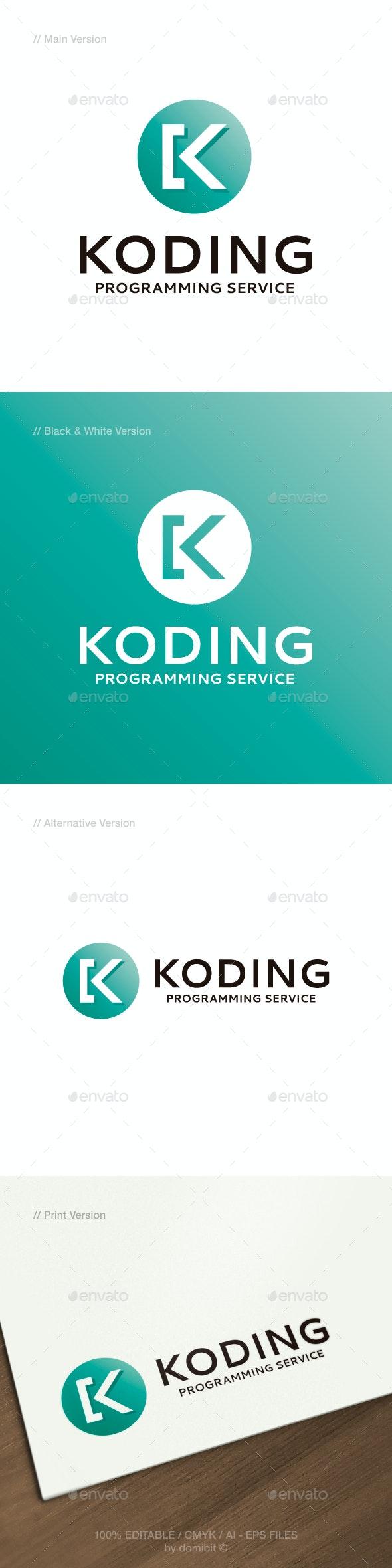Letter K & Code Logo - Letters Logo Templates