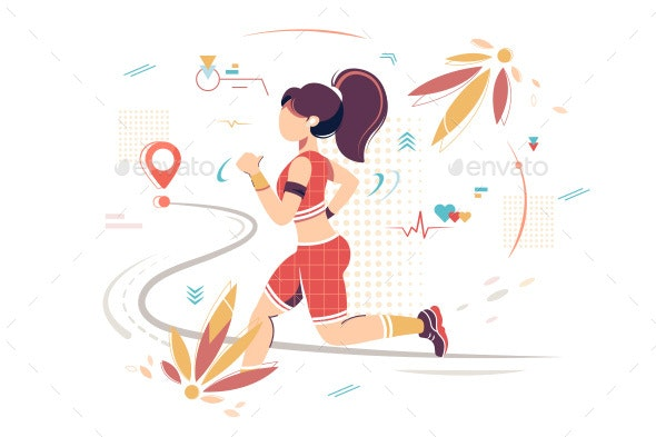 Flat Sport Woman with Sportswear Running To Point - Sports/Activity Conceptual