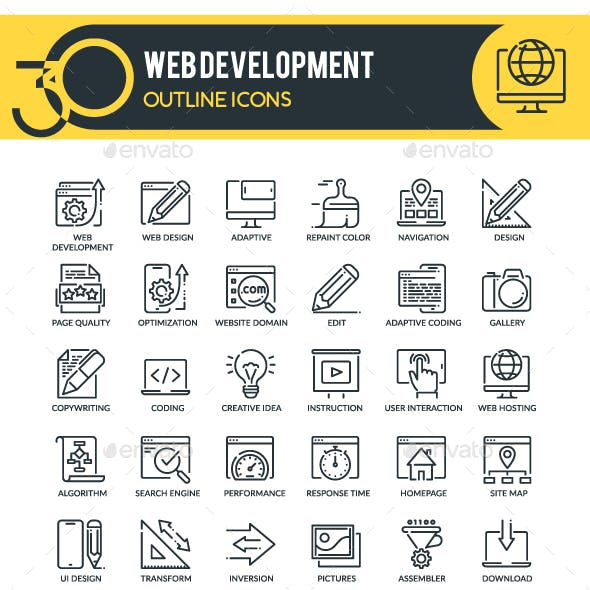 Web Design and Development Outline Icons