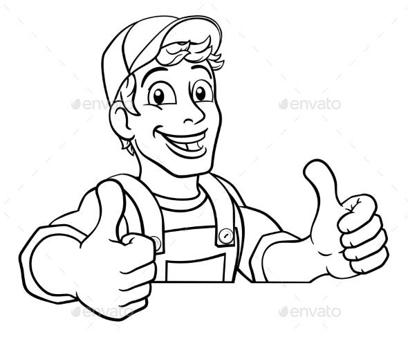 Handyman Cartoon Caretaker Construction Man Sign - People Characters