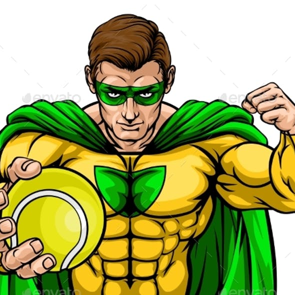 Superhero Holding Tennis Ball Sports Mascot