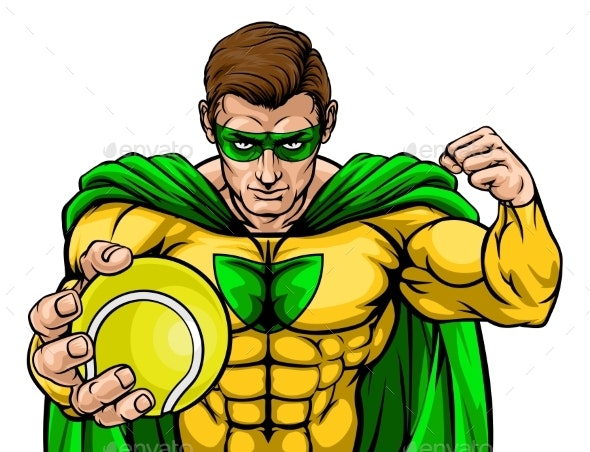 Superhero Holding Tennis Ball Sports Mascot - People Characters