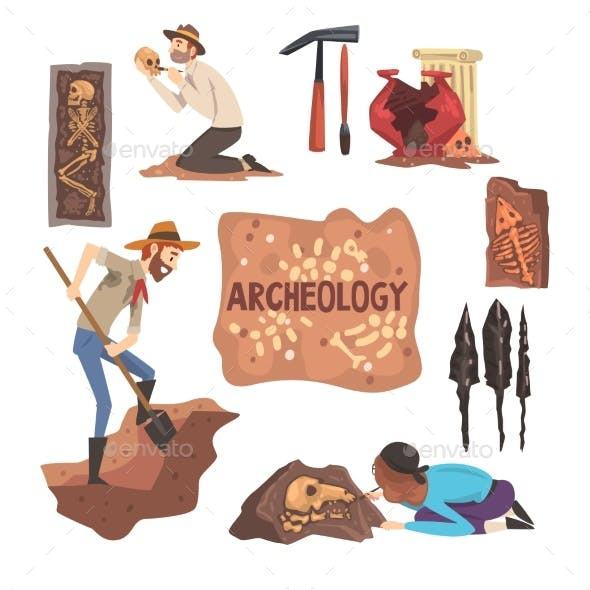 Archeology and Paleontology Set Scientist Working