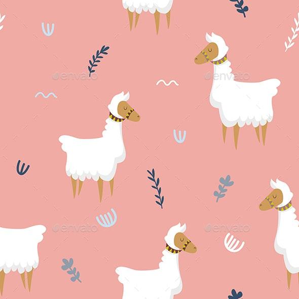 Cute Llama Pink Seamless Pattern - Patterns Backgrounds