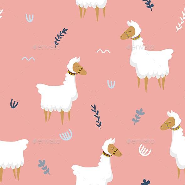 Cute Llama Pink Seamless Pattern
