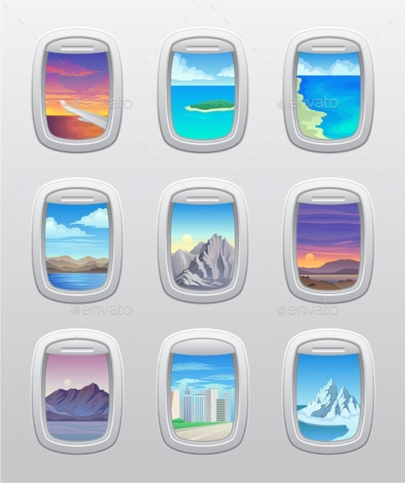 Set of Views of Their Airplane Window - Landscapes Nature
