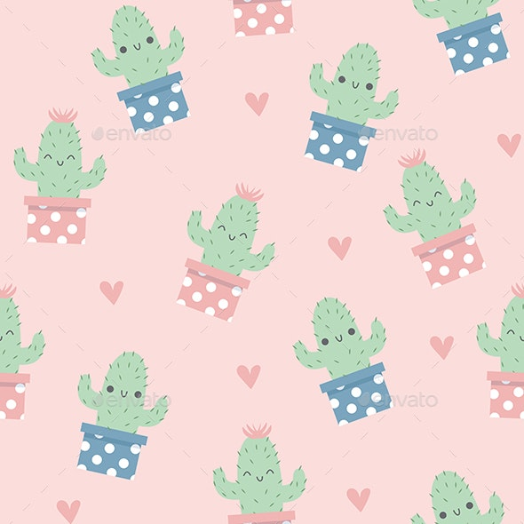 Cute Happy Cactus Pattern - Patterns Backgrounds