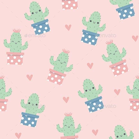 Cute Happy Cactus Pattern
