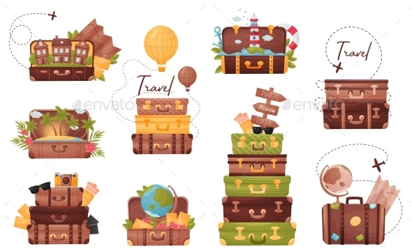 Set of Luggage with the Attributes of the Traveler - Travel Conceptual