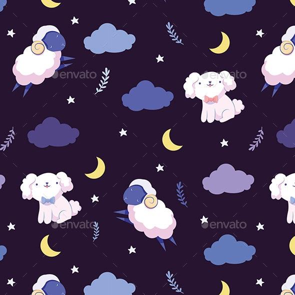 Night Dog and Sheep Seamless Pattern - Patterns Backgrounds