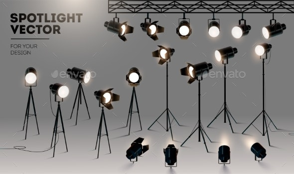 Spotlights Realistic Transparent Background - Man-made Objects Objects