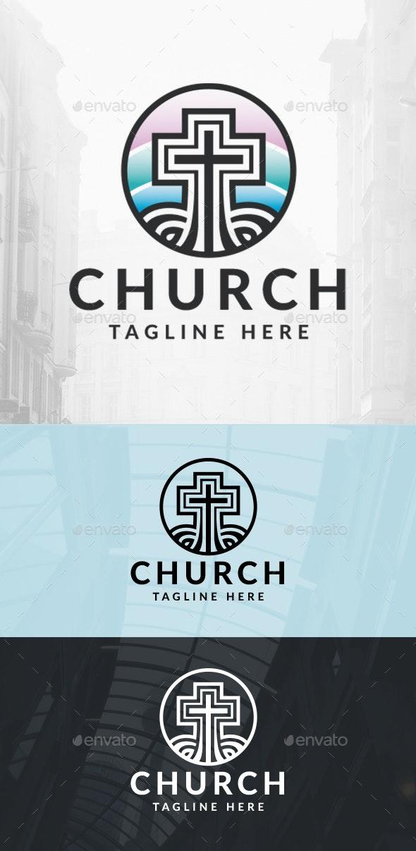 Colorful Cross Church Logo - Symbols Logo Templates