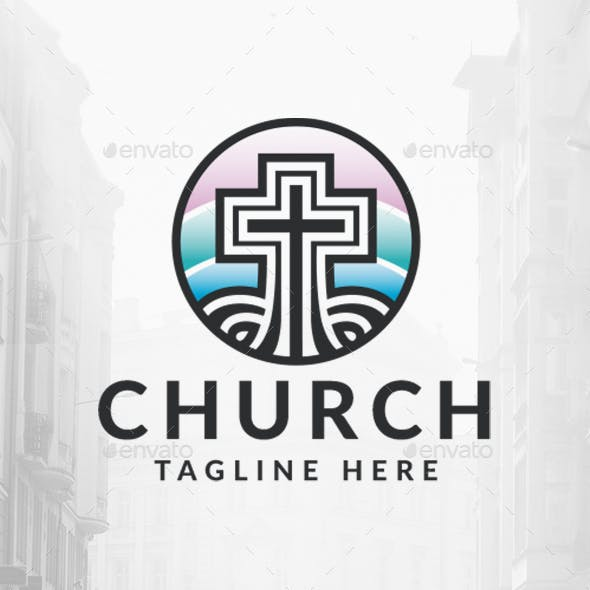Colorful Cross Church Logo