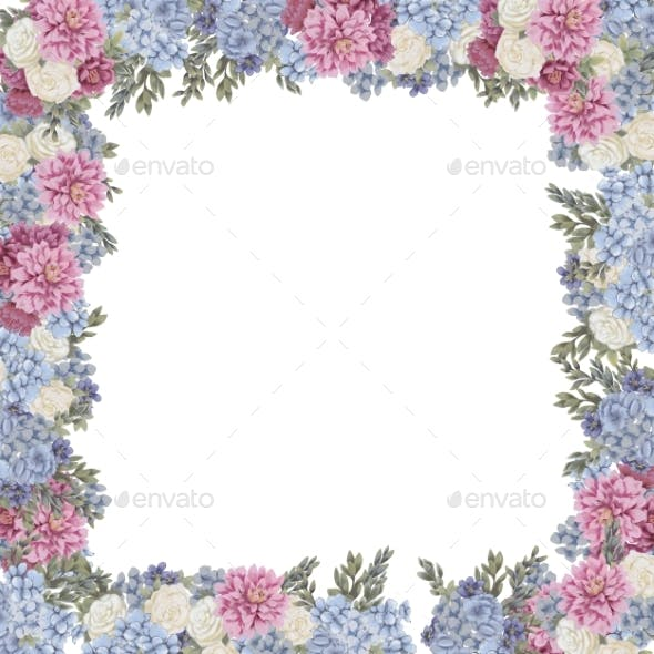 Floral Frame for Design Save the Date Cards