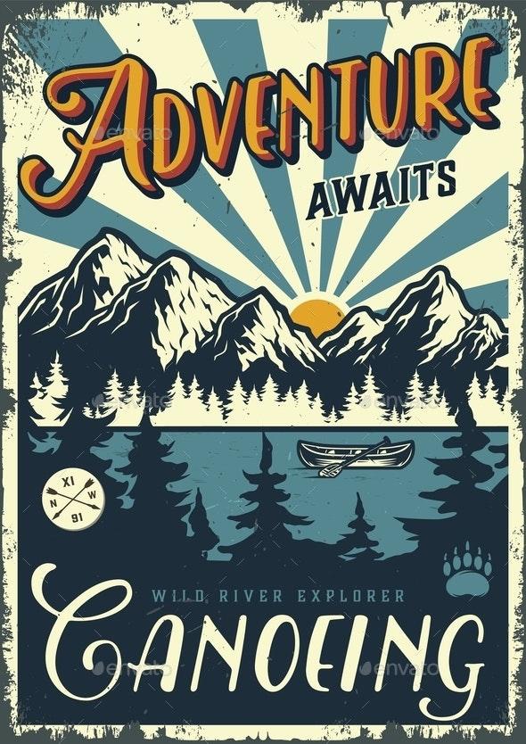 Vintage Summer Adventure Colorful Poster - Miscellaneous Vectors