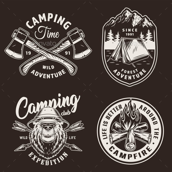Vintage Camping Badges - Miscellaneous Vectors