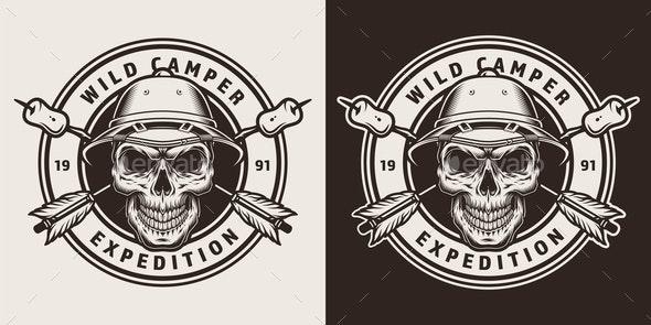 Vintage Camping Round Emblem - Miscellaneous Vectors