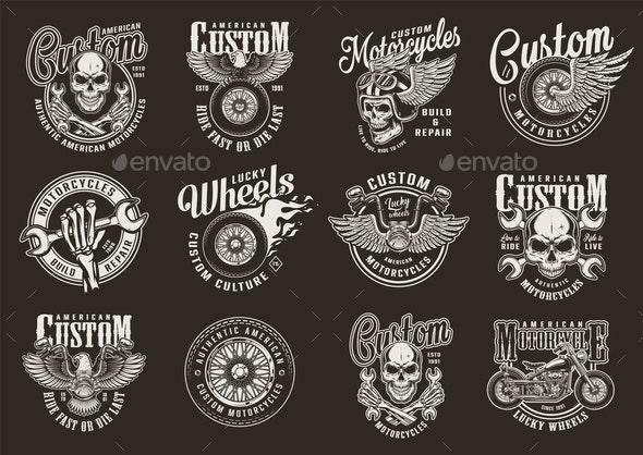 Vintage Motorcycle Emblems - Miscellaneous Vectors