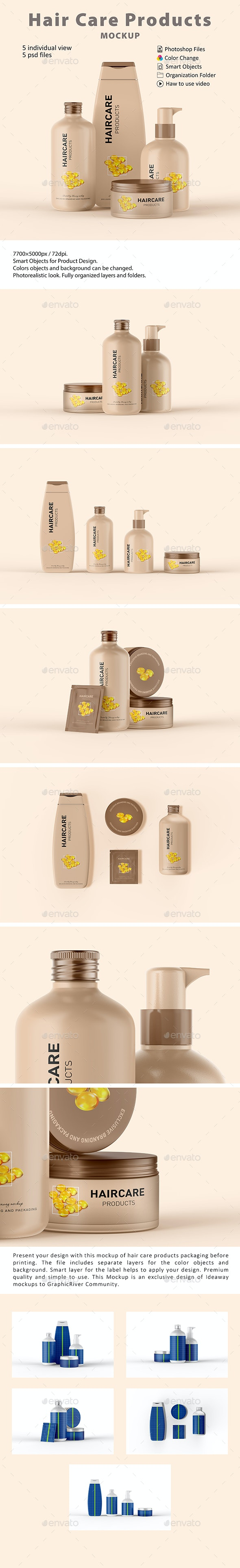 Cosmetic Hair Care Products Mockup - Beauty Packaging