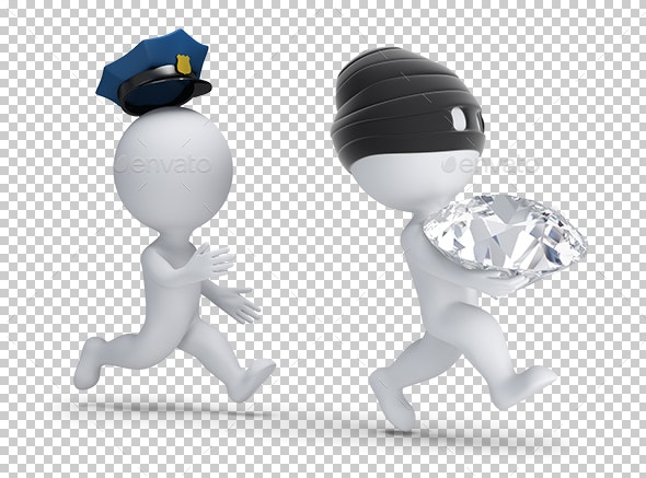 3D Small People - Thief Stole the Diamond - Characters 3D Renders
