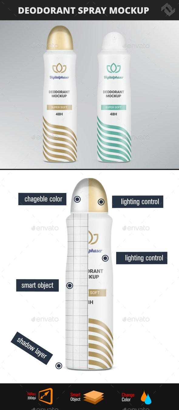 Deodorant Spray Bottle Mockup - Beauty Packaging