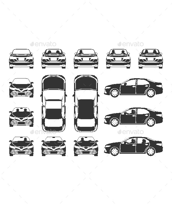 Gray and White Cars Icons - Miscellaneous Characters