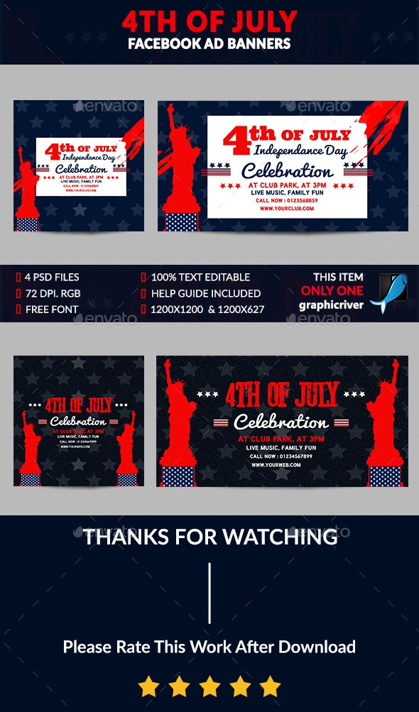 4th of July Facebook Ad Banner - Banners & Ads Web Elements