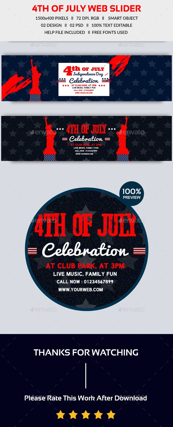 4th of July Web Slider - Sliders & Features Web Elements