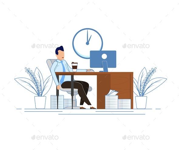 Coffee Break During Business Hours Cartoon Flat - People Characters