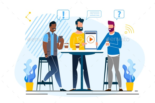 Office Situation Discussion Vector Illustration - People Characters