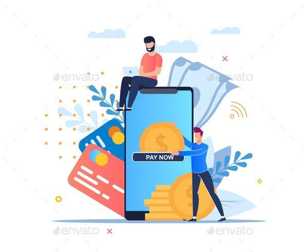 Vector Illustration Online Payment Cartoon Flat - Web Technology