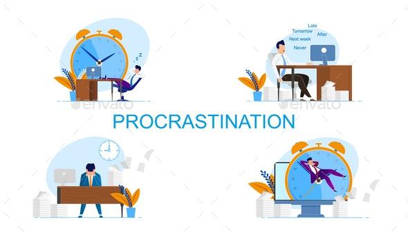 Illustration Inscription Set Procrastination - Miscellaneous Conceptual