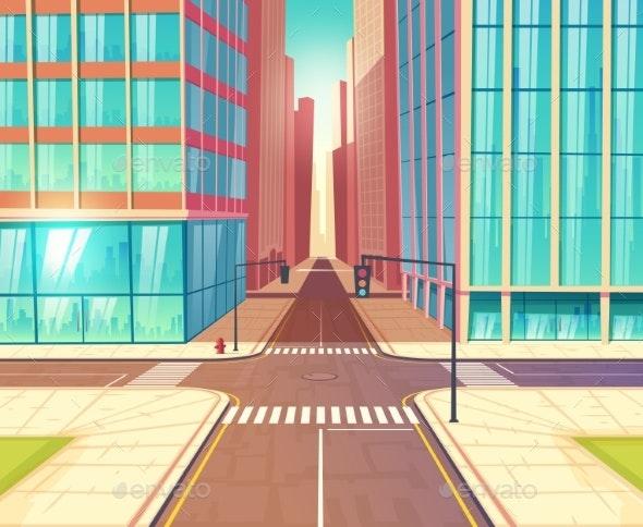 Modern City Empty Crossroads Cartoon Vector - Buildings Objects