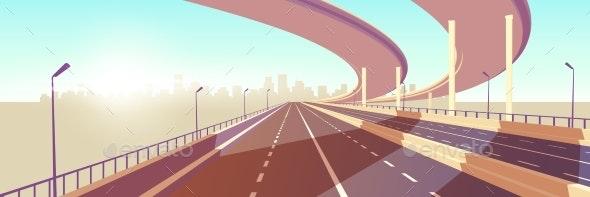 Modern Metropolis Speed Highway Cartoon Vector - Man-made Objects Objects